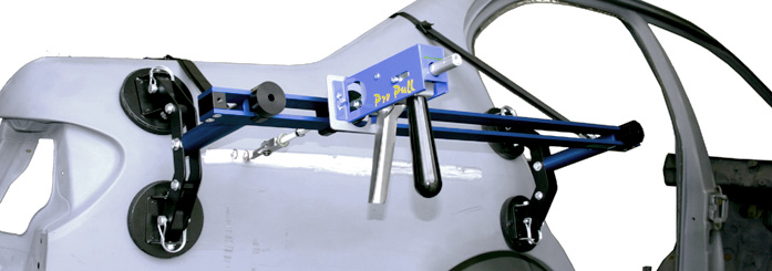 Dent Pull Bar mounted to car vertically with straps